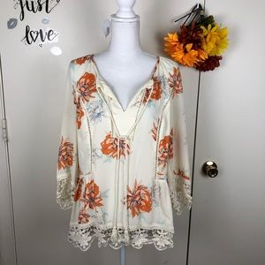 GIBSON LATIMER BOHO CROCHET LACE TOP SIZE LG